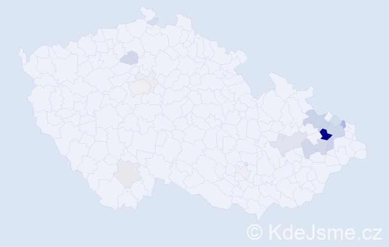 Příjmení: 'Bajnarová', počet výskytů 73 v celé ČR
