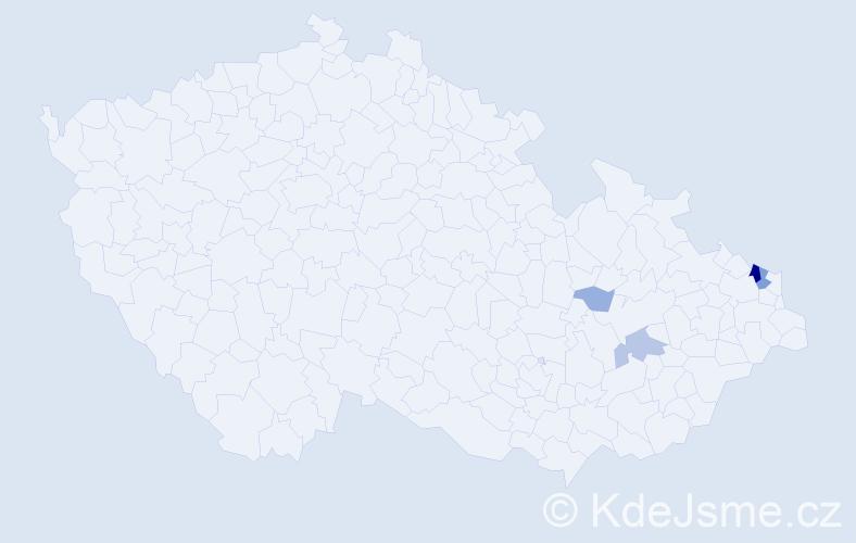 Příjmení: 'Granicová', počet výskytů 13 v celé ČR
