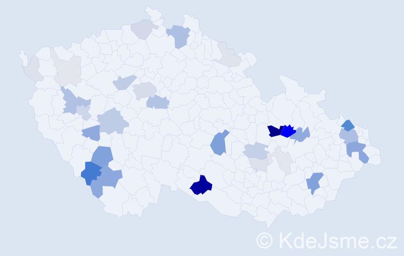 Příjmení: 'Košák', počet výskytů 132 v celé ČR