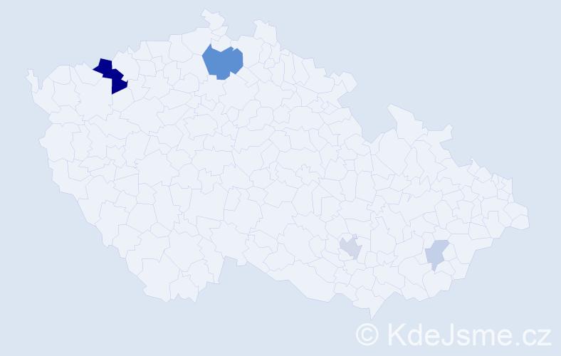 Příjmení: 'Domastová', počet výskytů 13 v celé ČR