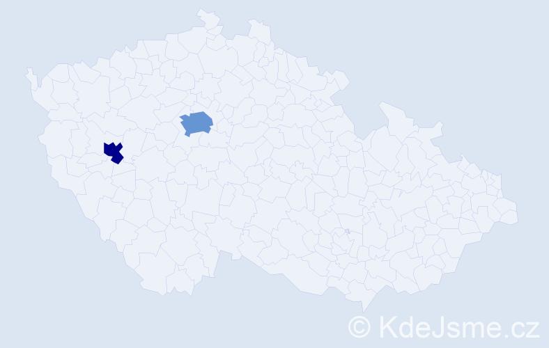 Příjmení: 'Čmovš', počet výskytů 3 v celé ČR