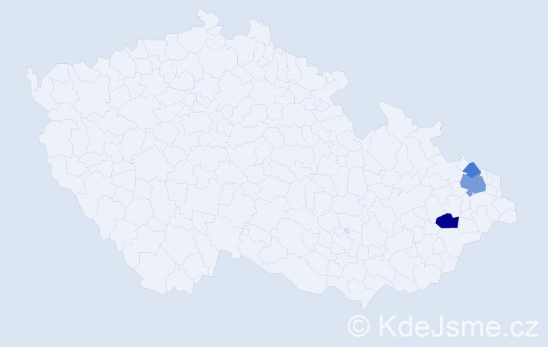 Příjmení: 'Děrkas', počet výskytů 6 v celé ČR