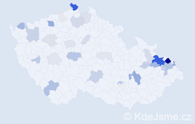 Příjmení: 'Holubek', počet výskytů 119 v celé ČR
