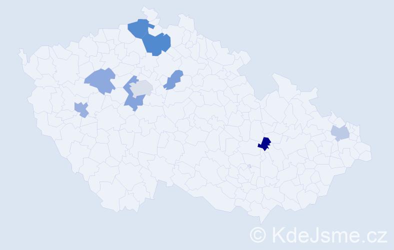 Příjmení: 'Baďouček', počet výskytů 18 v celé ČR