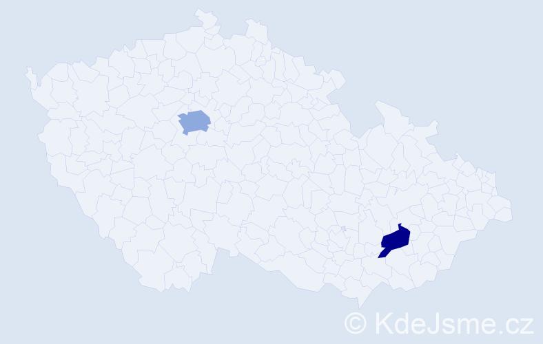 Příjmení: 'Kaldararová', počet výskytů 3 v celé ČR