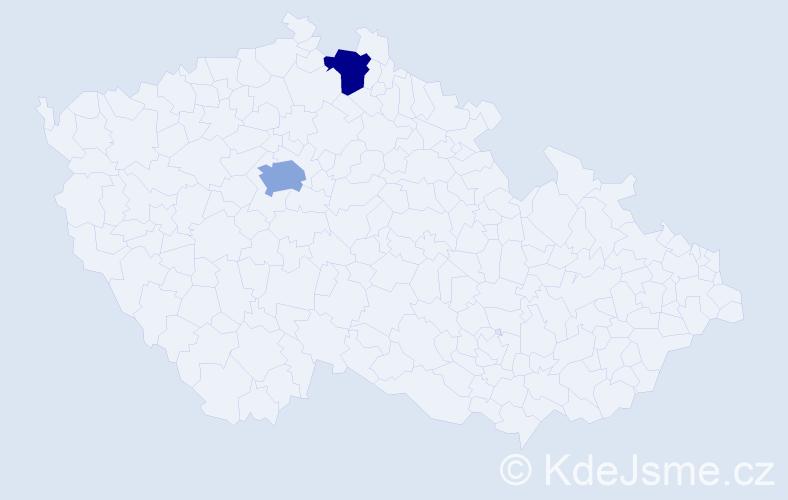 Příjmení: 'Čutta', počet výskytů 5 v celé ČR