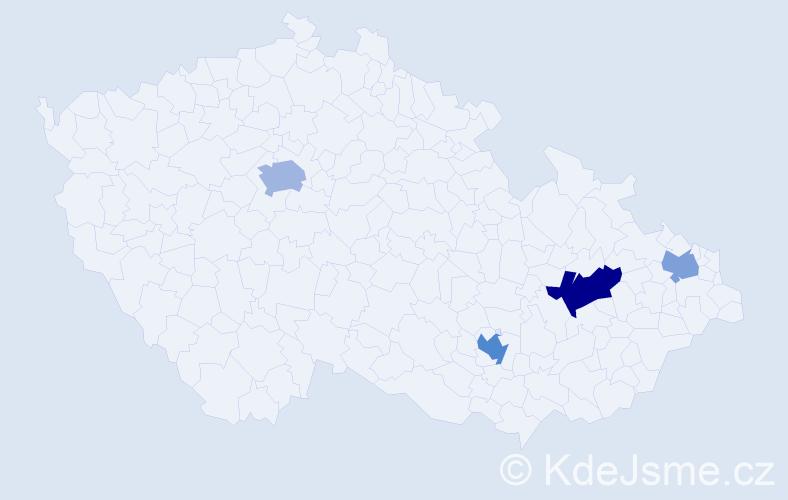 Příjmení: 'Gágyorová', počet výskytů 7 v celé ČR