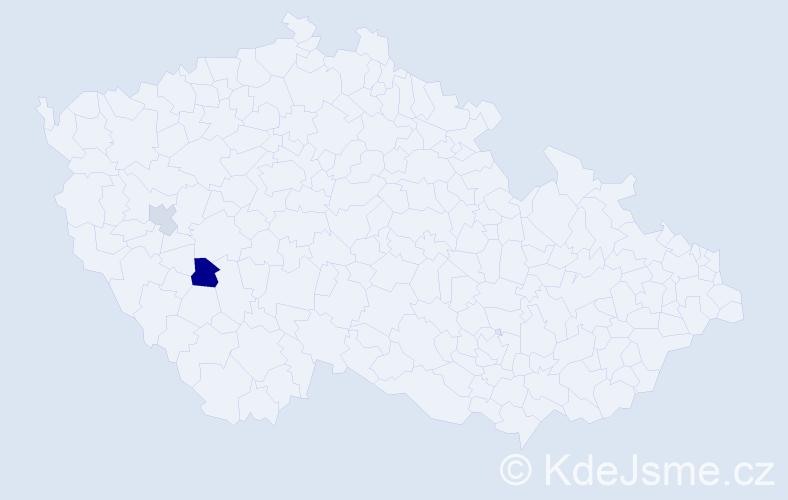 Příjmení: 'Grubič', počet výskytů 3 v celé ČR