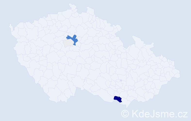 Příjmení: 'Kaprelová', počet výskytů 7 v celé ČR