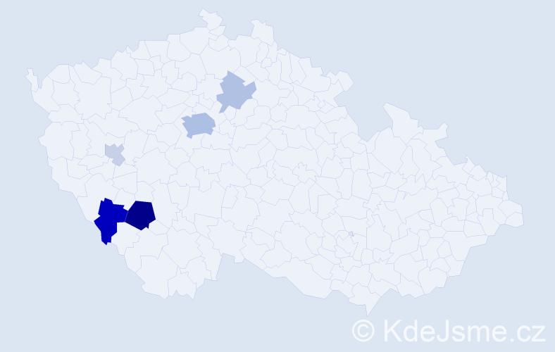 Příjmení: 'Čakrtová', počet výskytů 16 v celé ČR