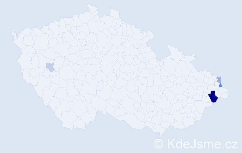 Příjmení: 'Árpa', počet výskytů 5 v celé ČR