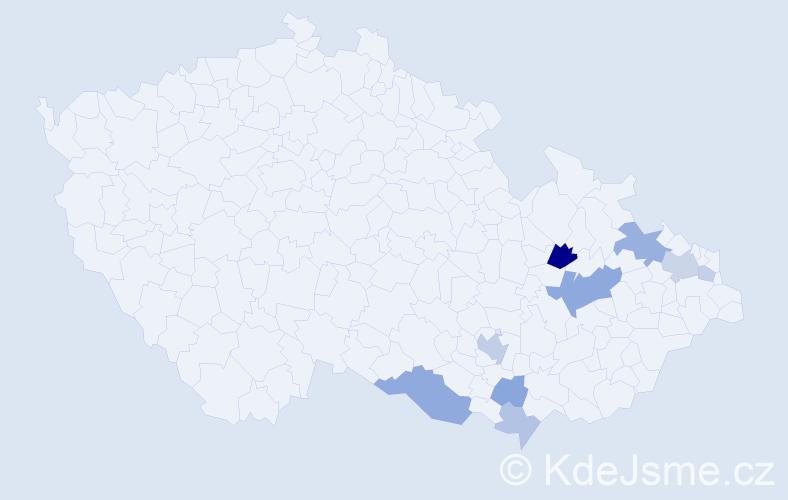 Příjmení: 'Hanyášová', počet výskytů 18 v celé ČR
