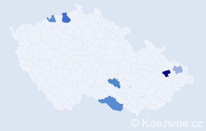 Příjmení: 'Jašeková', počet výskytů 10 v celé ČR