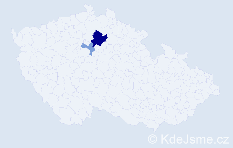 Příjmení: 'Belajová', počet výskytů 5 v celé ČR