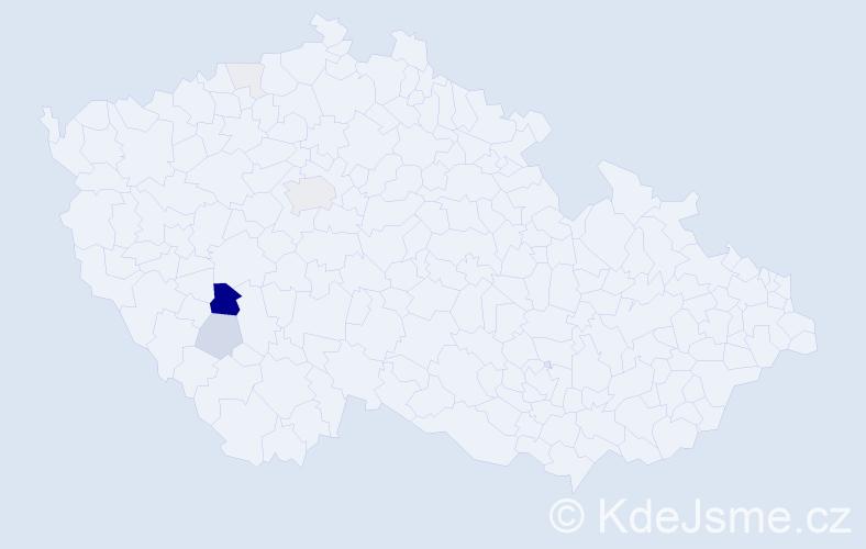 Příjmení: 'Koblih', počet výskytů 27 v celé ČR