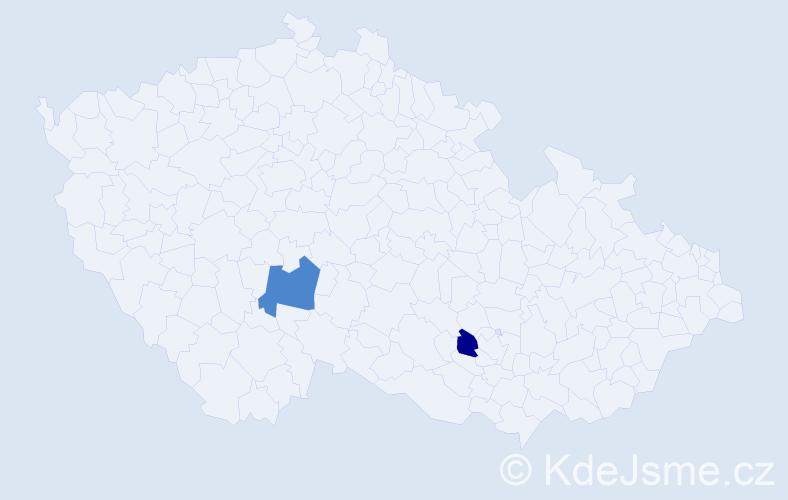 Příjmení: 'Čeléni', počet výskytů 5 v celé ČR