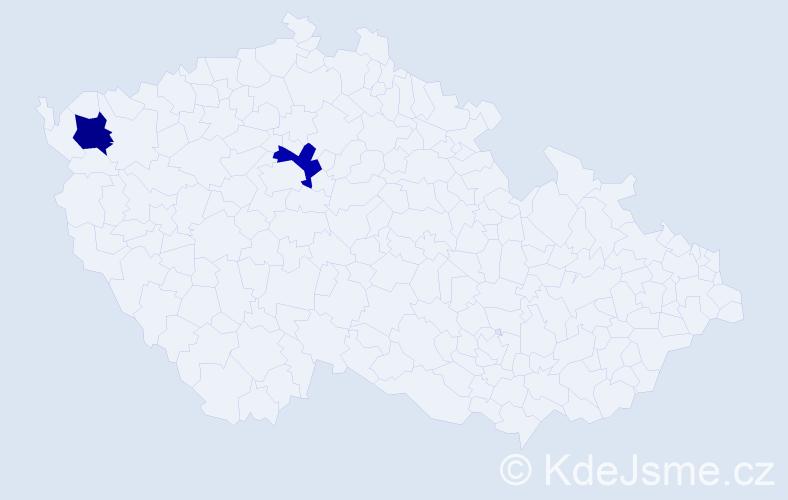 Příjmení: 'Iciková', počet výskytů 2 v celé ČR