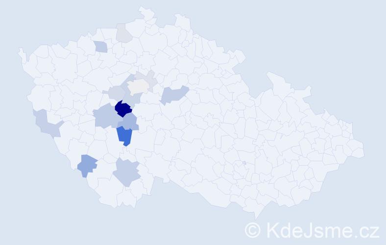 Příjmení: 'Hošinská', počet výskytů 27 v celé ČR