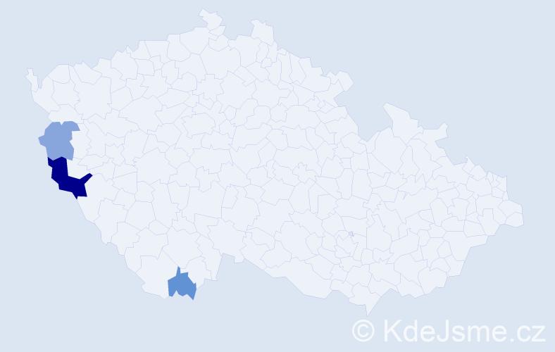 Příjmení: 'Fajfárková', počet výskytů 7 v celé ČR