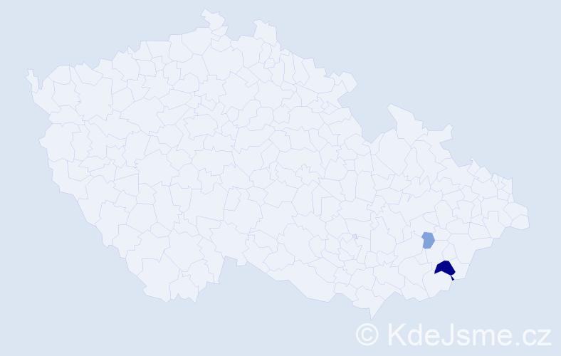 Příjmení: 'Diatelová', počet výskytů 9 v celé ČR