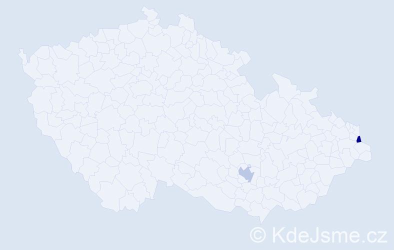 Příjmení: 'Dančeková', počet výskytů 2 v celé ČR