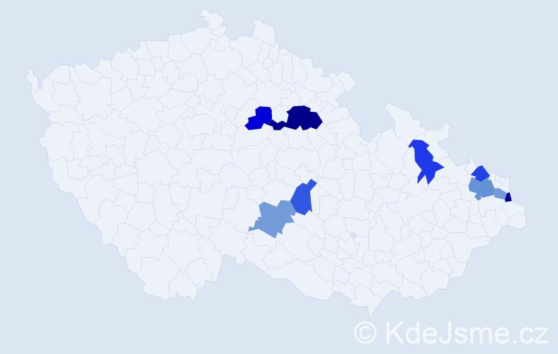 Příjmení: 'Jandát', počet výskytů 14 v celé ČR
