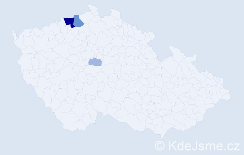 Příjmení: 'Ernygr', počet výskytů 15 v celé ČR