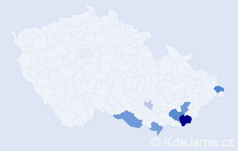 Příjmení: 'Babula', počet výskytů 25 v celé ČR