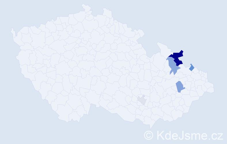 Příjmení: 'Haleňáková', počet výskytů 9 v celé ČR
