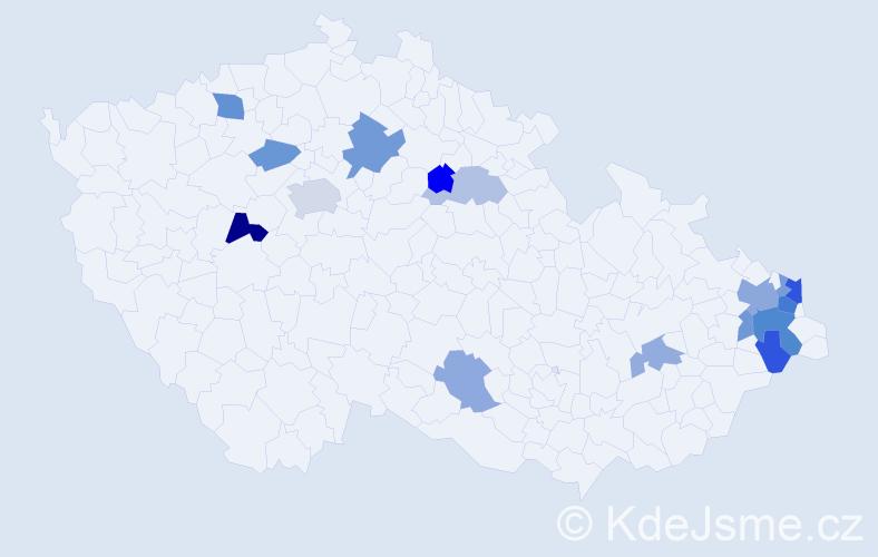 Příjmení: 'Hegedűs', počet výskytů 29 v celé ČR
