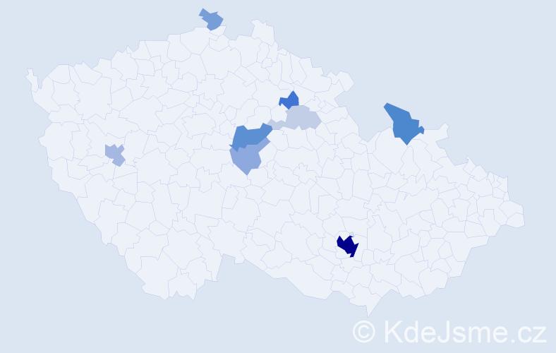 Příjmení: 'Bagár', počet výskytů 34 v celé ČR