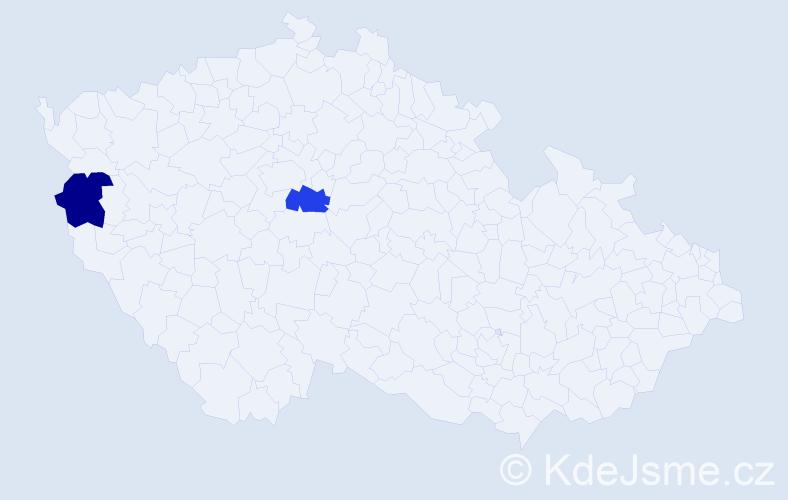Příjmení: 'Hegyköziová', počet výskytů 2 v celé ČR