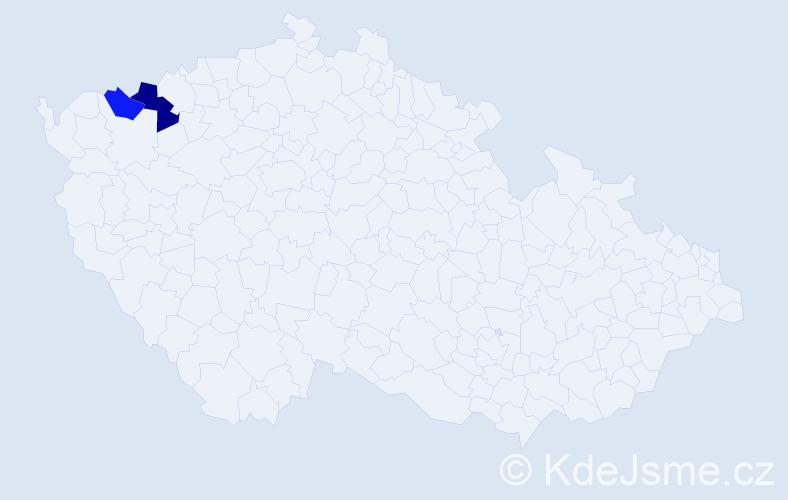 Příjmení: 'Hamánek', počet výskytů 3 v celé ČR