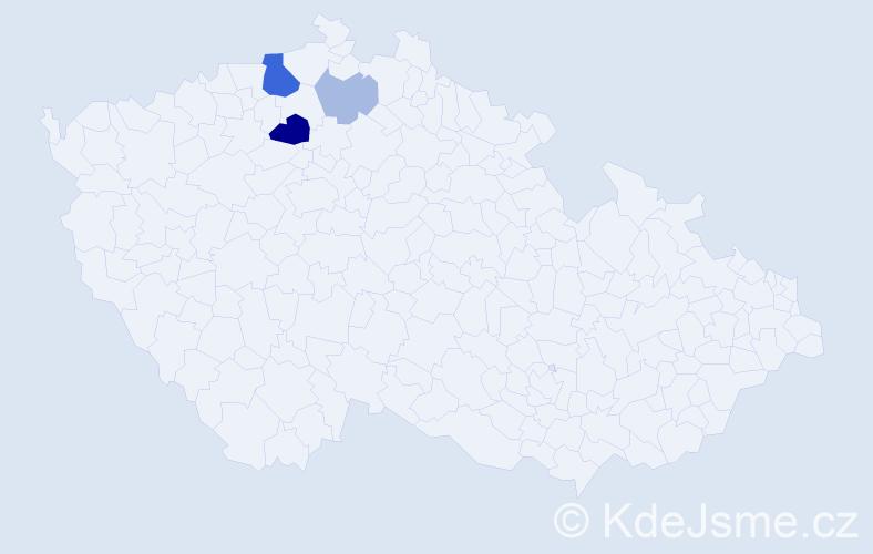 Příjmení: 'Česnohlídek', počet výskytů 9 v celé ČR