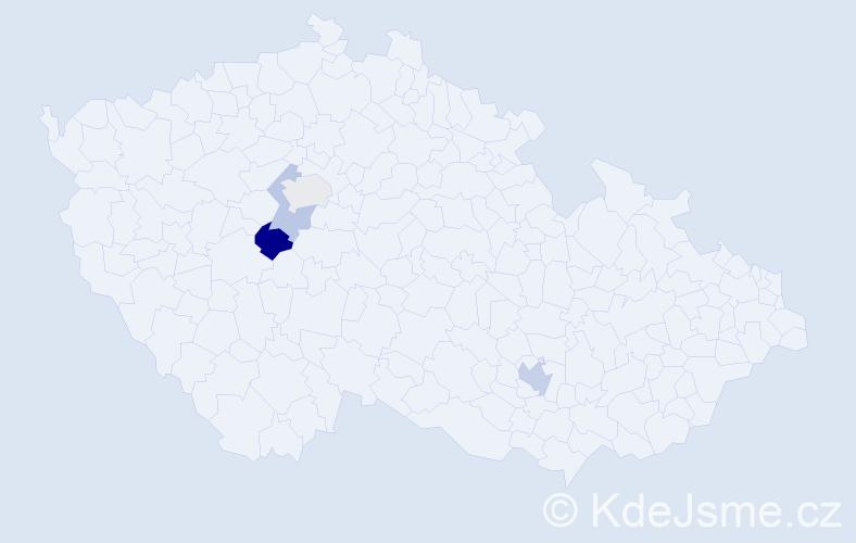 Příjmení: 'Barkerová', počet výskytů 6 v celé ČR