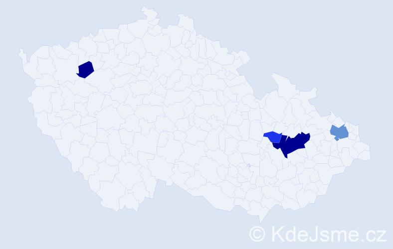 Příjmení: 'Jelč', počet výskytů 14 v celé ČR