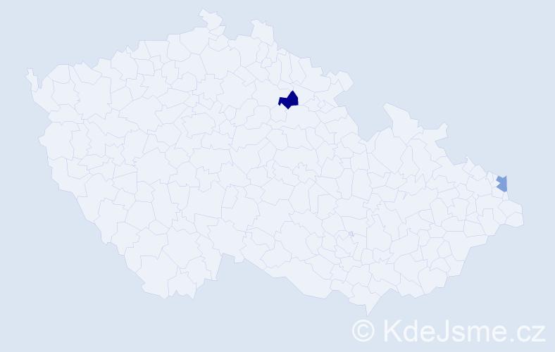 Příjmení: 'Bencsík', počet výskytů 2 v celé ČR