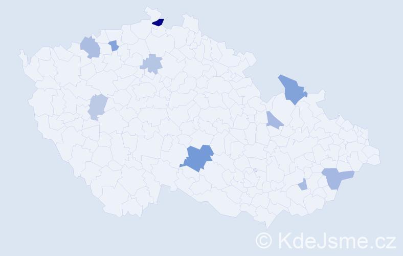 Příjmení: 'Heidová', počet výskytů 20 v celé ČR