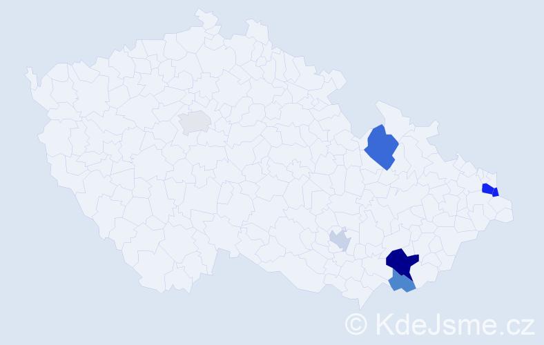 Příjmení: 'Čellár', počet výskytů 13 v celé ČR