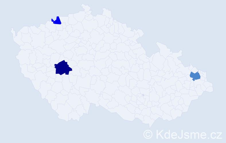 Příjmení: 'Dávidek', počet výskytů 6 v celé ČR