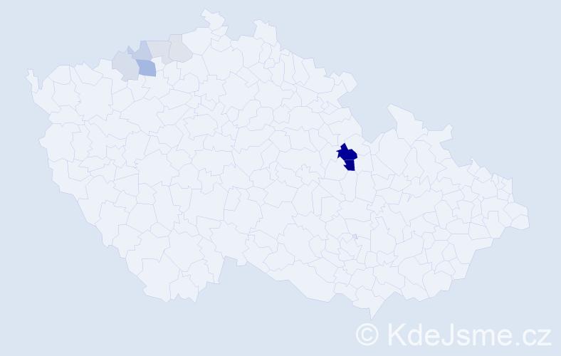Příjmení: 'Egydy', počet výskytů 19 v celé ČR