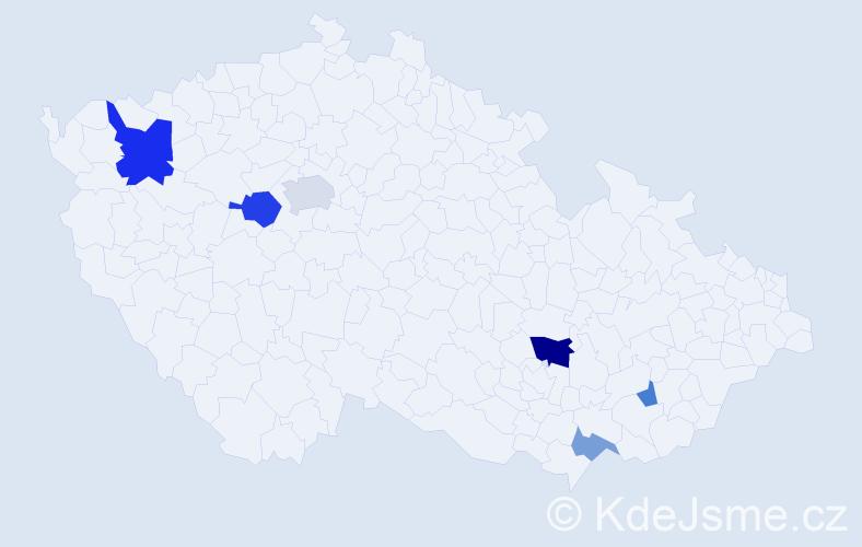 Příjmení: 'Čillíková', počet výskytů 12 v celé ČR