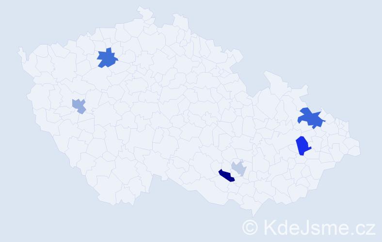 Příjmení: 'Brunek', počet výskytů 7 v celé ČR