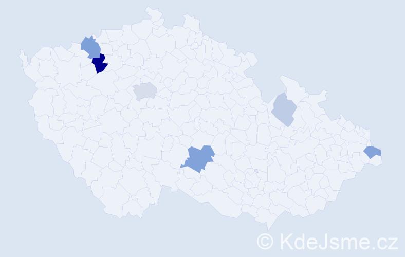 Příjmení: 'Manga', počet výskytů 18 v celé ČR