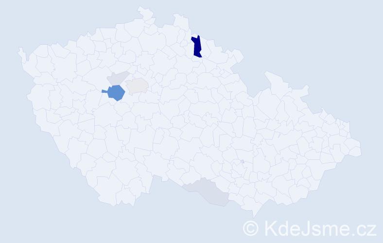 Příjmení: 'Kázmer', počet výskytů 17 v celé ČR