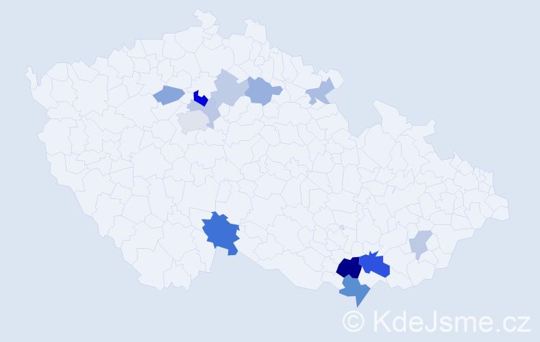 Příjmení: 'Jeřelová', počet výskytů 26 v celé ČR