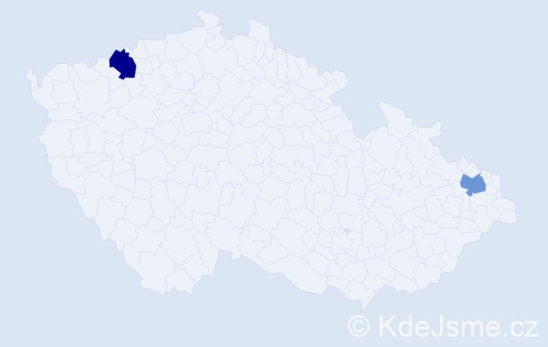 Příjmení: 'Aršakjanová', počet výskytů 2 v celé ČR