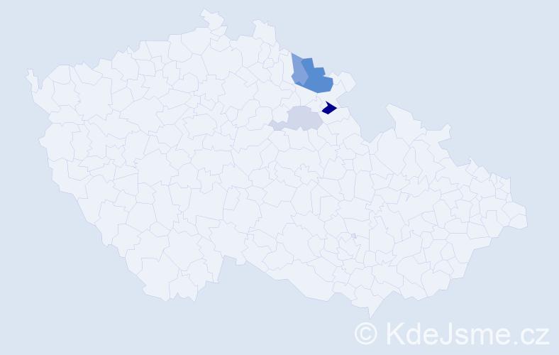 Příjmení: 'Čerenkov', počet výskytů 8 v celé ČR