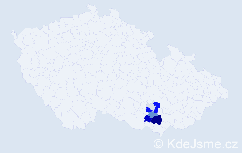 Příjmení: 'Jochlíková', počet výskytů 10 v celé ČR