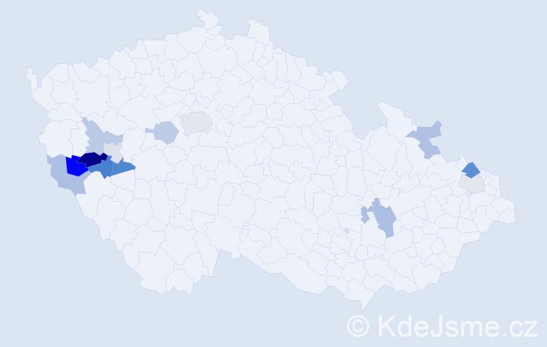 Příjmení: 'Ircingová', počet výskytů 23 v celé ČR